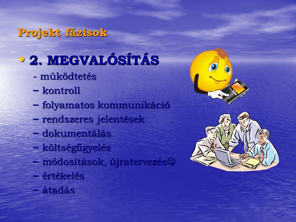 2. MEGVALÓSÍTÁS Projekt fázisok - működtetés kontroll