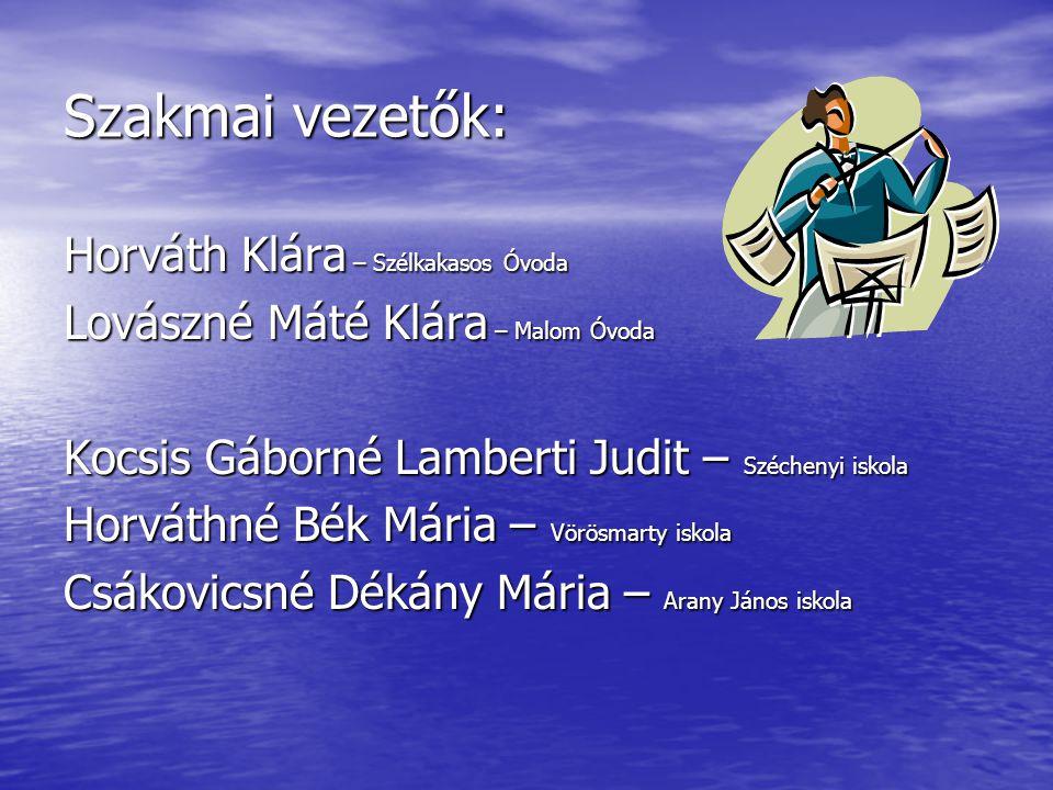 Szakmai vezetők: Horváth Klára – Szélkakasos Óvoda