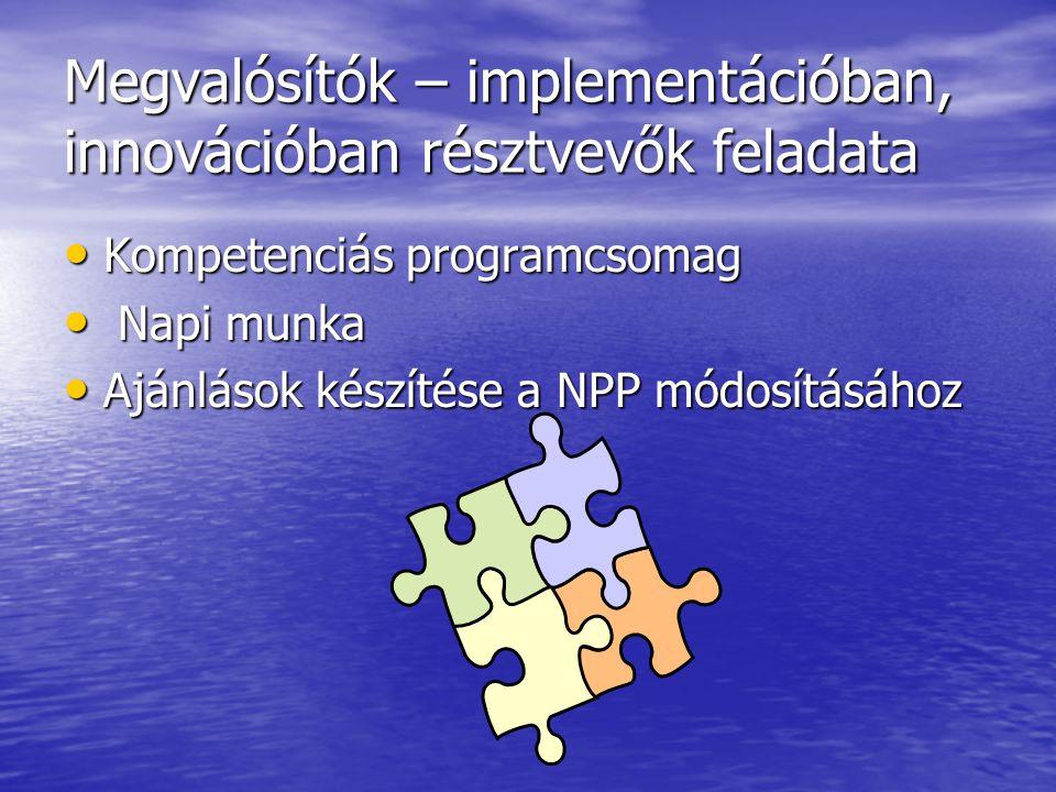 Megvalósítók – implementációban, innovációban résztvevők feladata