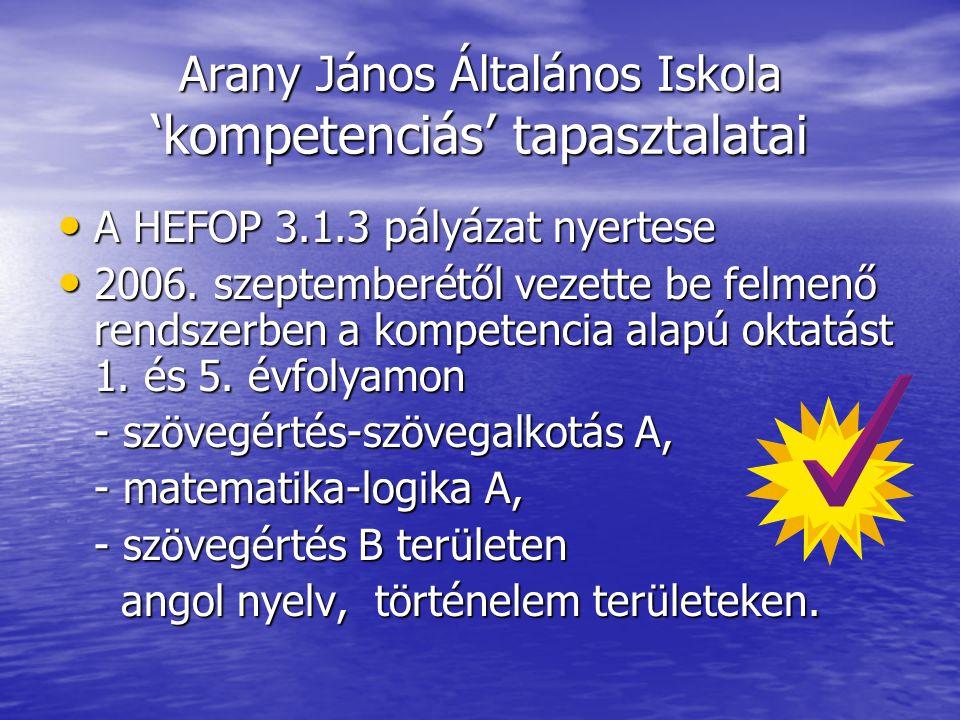 Arany János Általános Iskola 'kompetenciás' tapasztalatai