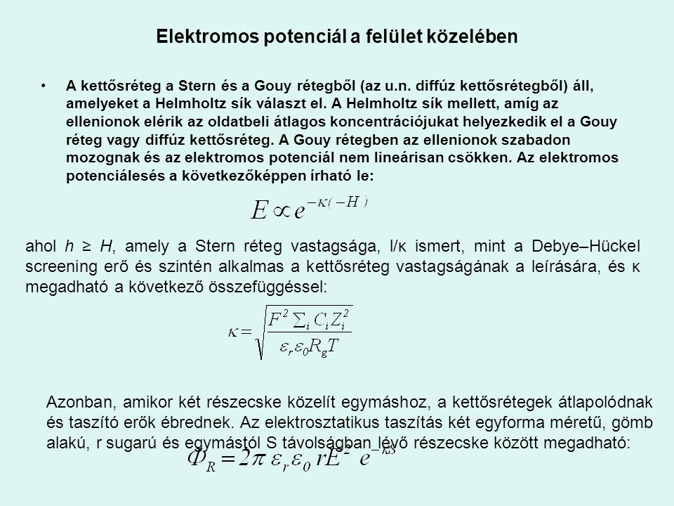 Elektromos potenciál a felület közelében