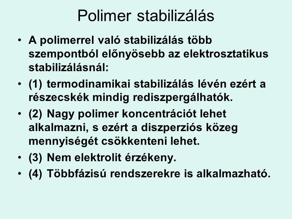Polimer stabilizálás A polimerrel való stabilizálás több szempontból előnyösebb az elektrosztatikus stabilizálásnál: