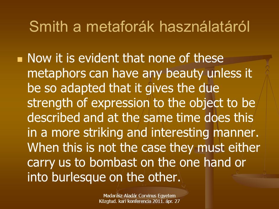 Smith a metaforák használatáról