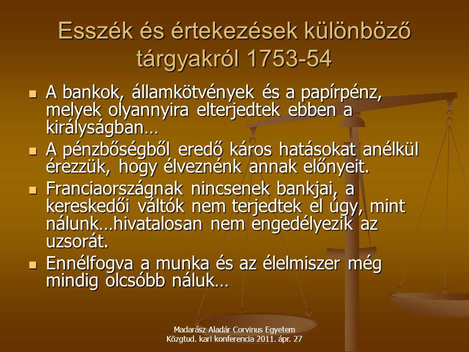 Esszék és értekezések különböző tárgyakról 1753-54
