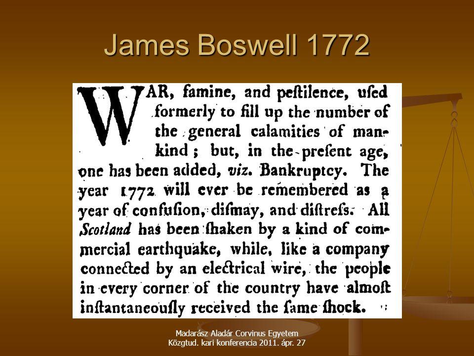 James Boswell 1772 Madarász Aladár Corvinus Egyetem Közgtud. kari konferencia 2011. ápr. 27