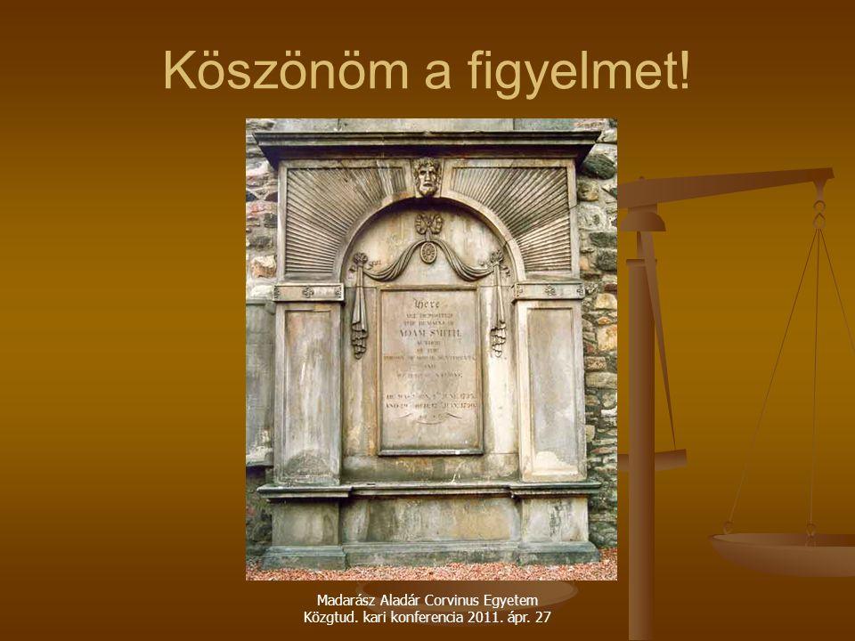 Köszönöm a figyelmet! Madarász Aladár Corvinus Egyetem Közgtud. kari konferencia 2011. ápr. 27