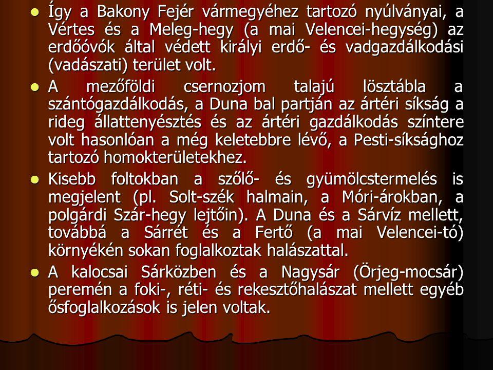 Így a Bakony Fejér vármegyéhez tartozó nyúlványai, a Vértes és a Meleg-hegy (a mai Velencei-hegység) az erdőóvók által védett királyi erdő- és vadgazdálkodási (vadászati) terület volt.