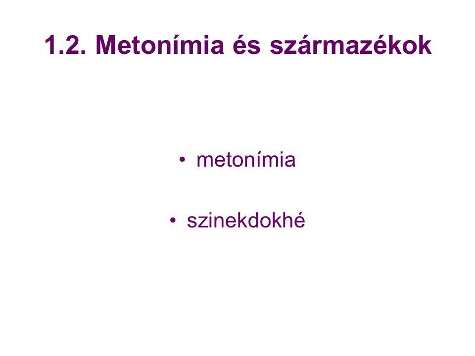 1.2. Metonímia és származékok