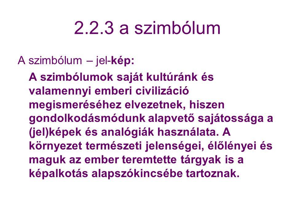 2.2.3 a szimbólum A szimbólum – jel-kép: