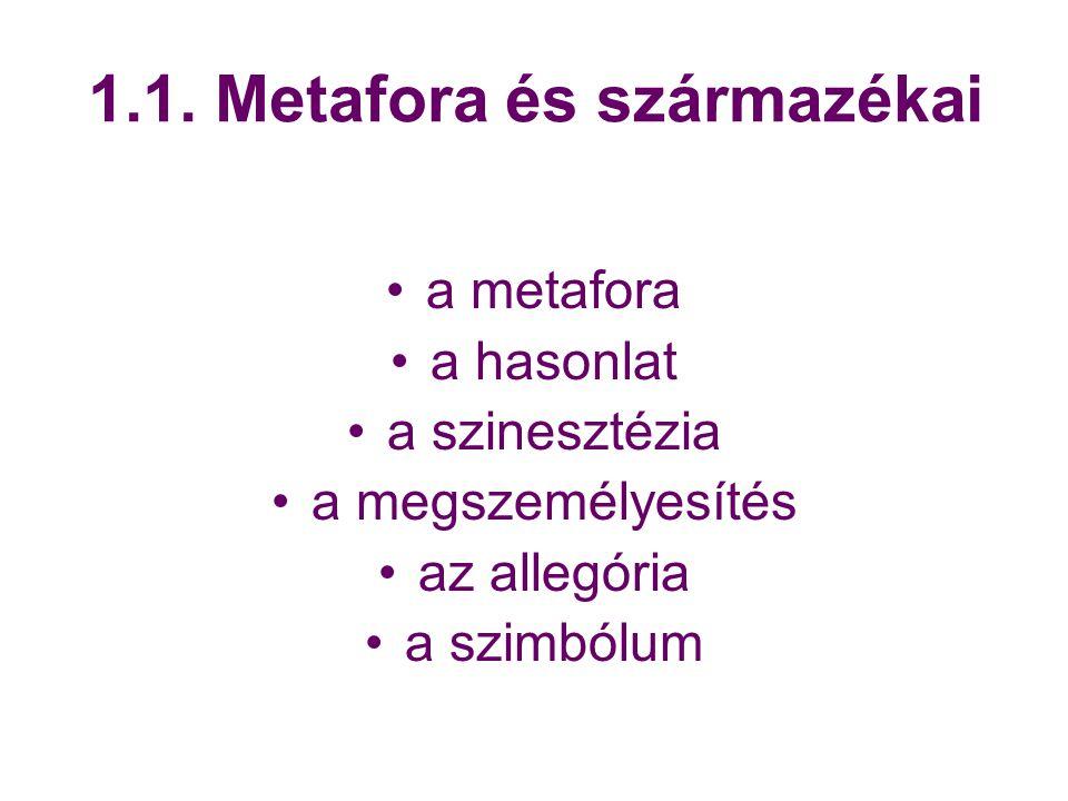 1.1. Metafora és származékai