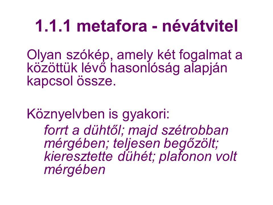 1.1.1 metafora - névátvitel Olyan szókép, amely két fogalmat a közöttük lévő hasonlóság alapján kapcsol össze.