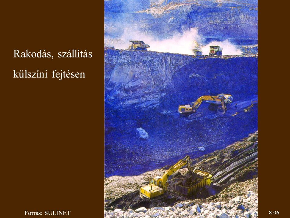 Rakodás, szállítás külszíni fejtésen Forrás: SULINET 8:06