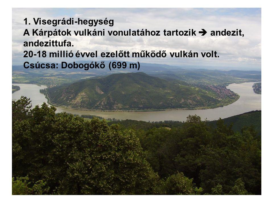 1. Visegrádi-hegység A Kárpátok vulkáni vonulatához tartozik  andezit, andezittufa. 20-18 millió évvel ezelőtt működő vulkán volt.
