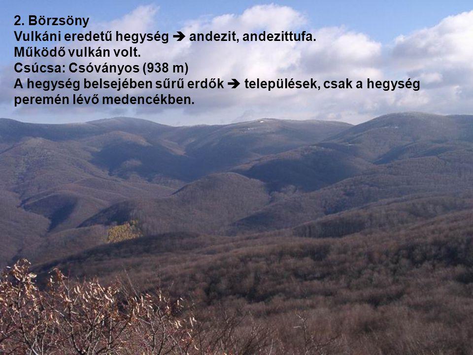 2. Börzsöny Vulkáni eredetű hegység  andezit, andezittufa. Működő vulkán volt. Csúcsa: Csóványos (938 m)