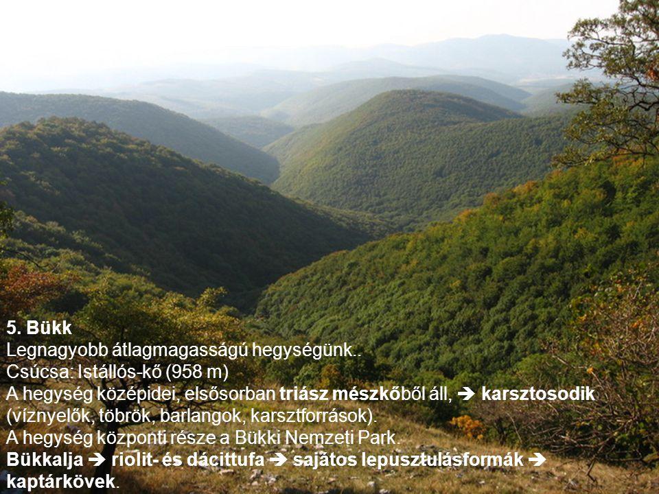 5. Bükk Legnagyobb átlagmagasságú hegységünk.. Csúcsa: Istállós-kő (958 m)