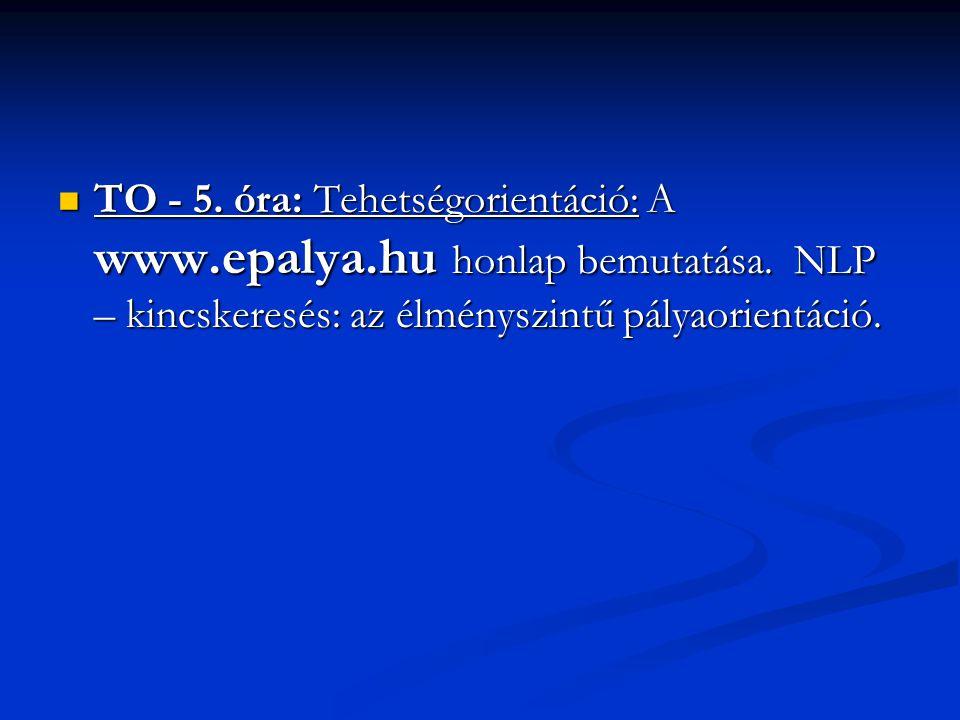 TO - 5. óra: Tehetségorientáció: A www. epalya. hu honlap bemutatása