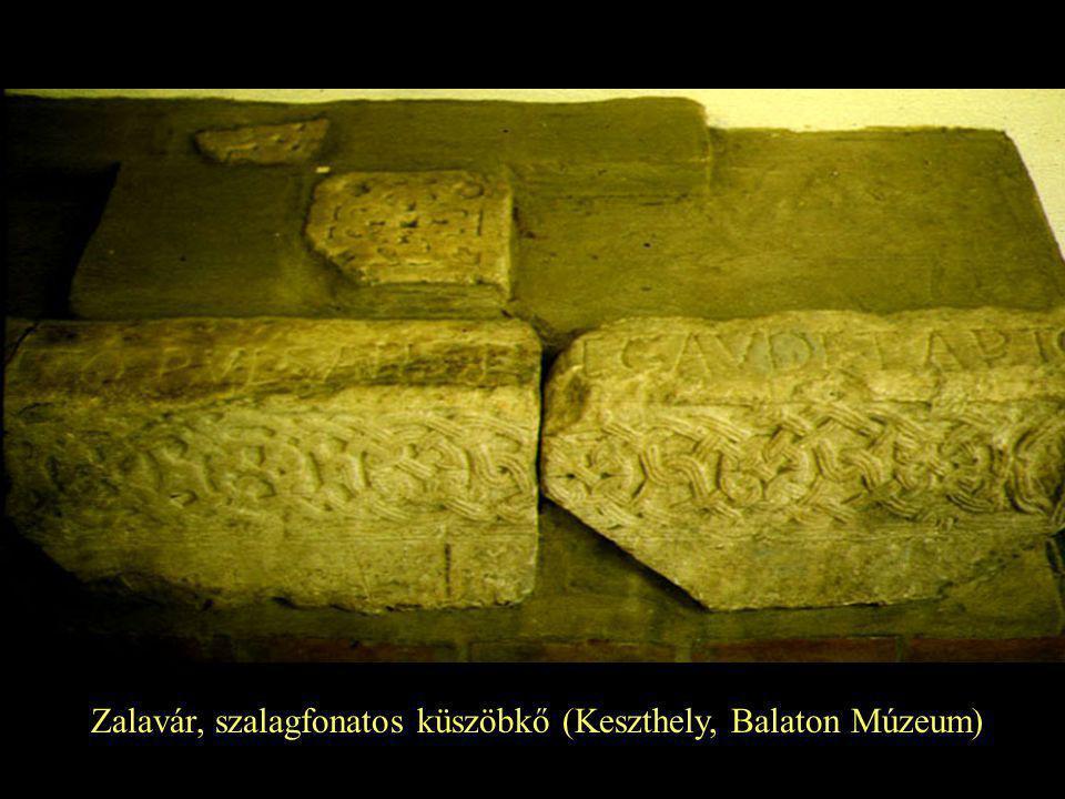 Zalavár, szalagfonatos küszöbkő (Keszthely, Balaton Múzeum)