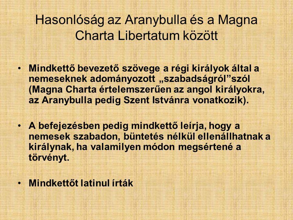 Hasonlóság az Aranybulla és a Magna Charta Libertatum között