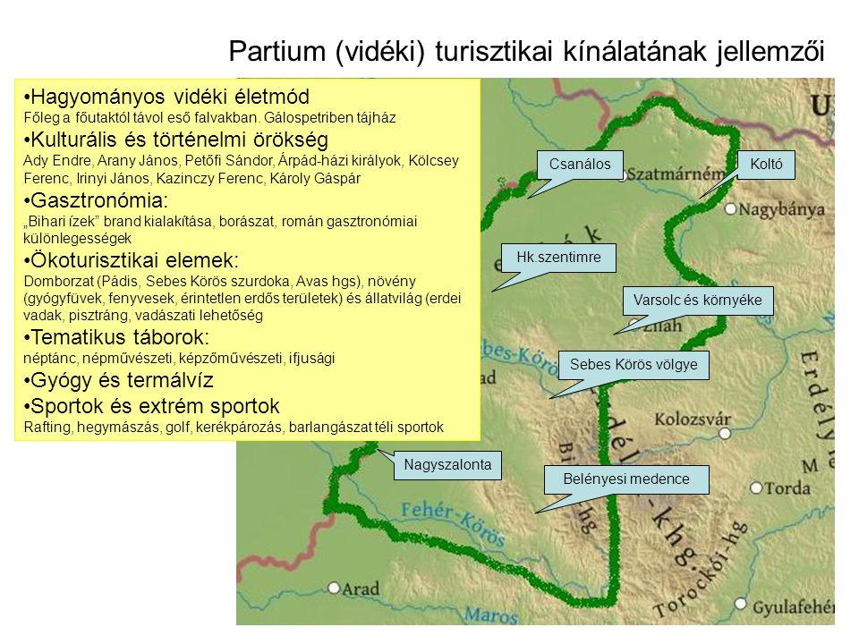 Partium (vidéki) turisztikai kínálatának jellemzői