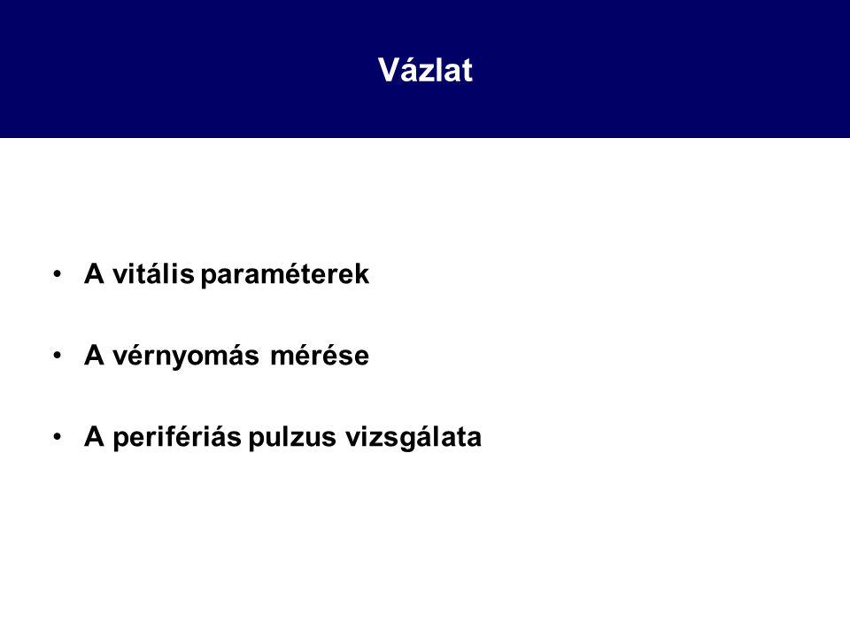 Vázlat A vitális paraméterek A vérnyomás mérése