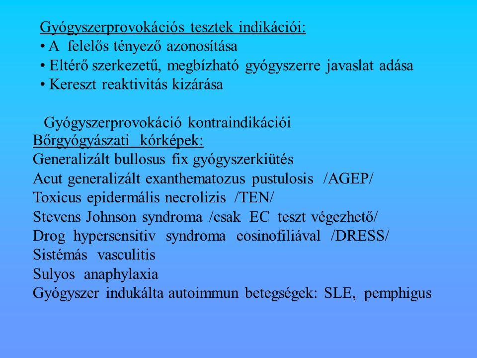 Gyógyszerprovokációs tesztek indikációi: