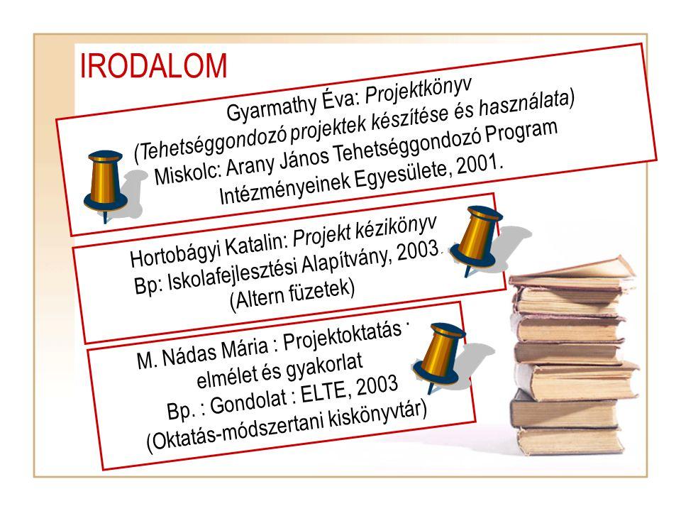 IRODALOM Gyarmathy Éva: Projektkönyv
