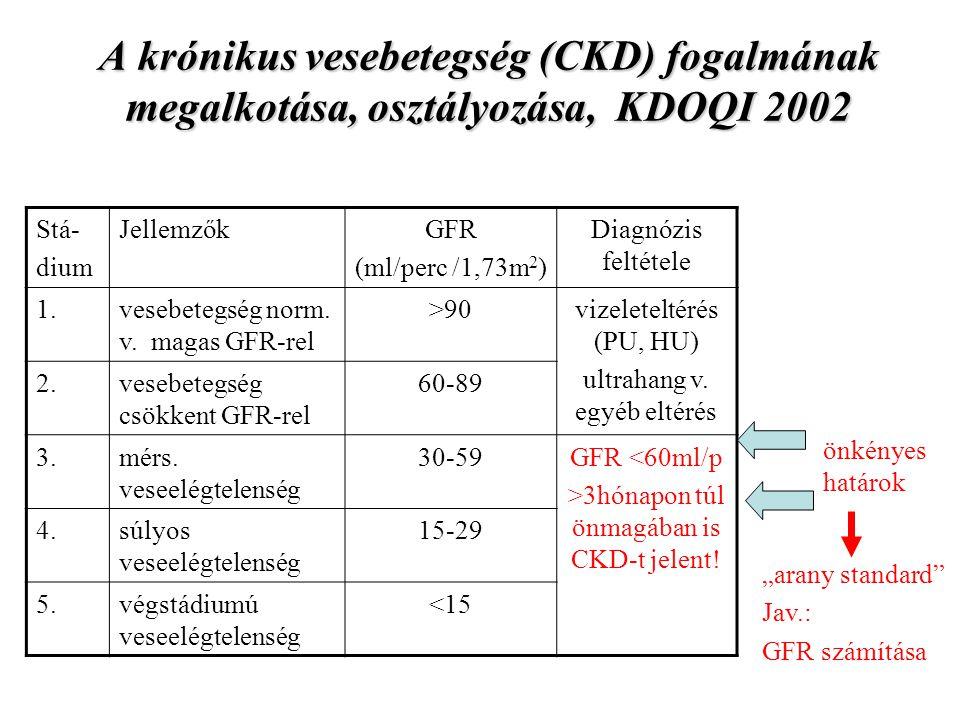 A krónikus vesebetegség (CKD) fogalmának megalkotása, osztályozása, KDOQI 2002