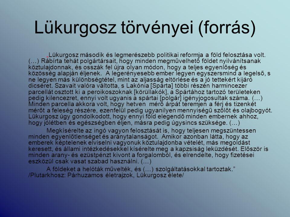 Lükurgosz törvényei (forrás)