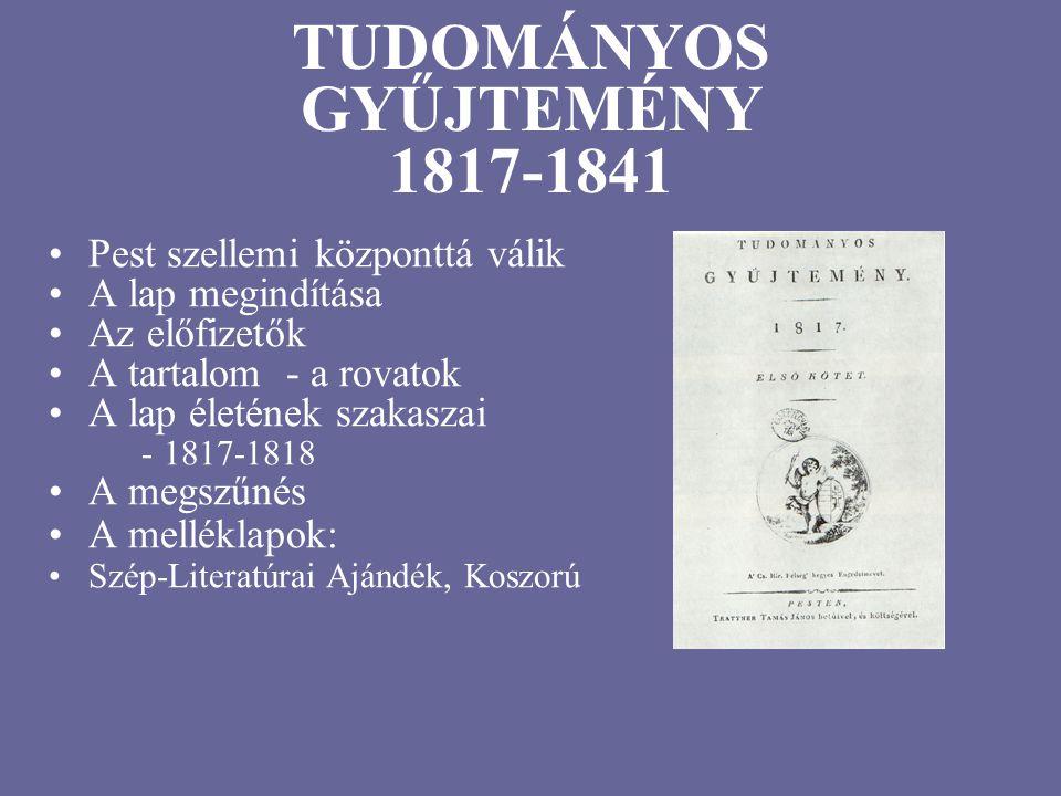 TUDOMÁNYOS GYŰJTEMÉNY 1817-1841