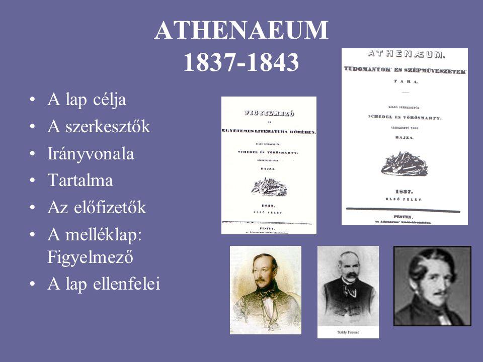ATHENAEUM 1837-1843 A lap célja A szerkesztők Irányvonala Tartalma