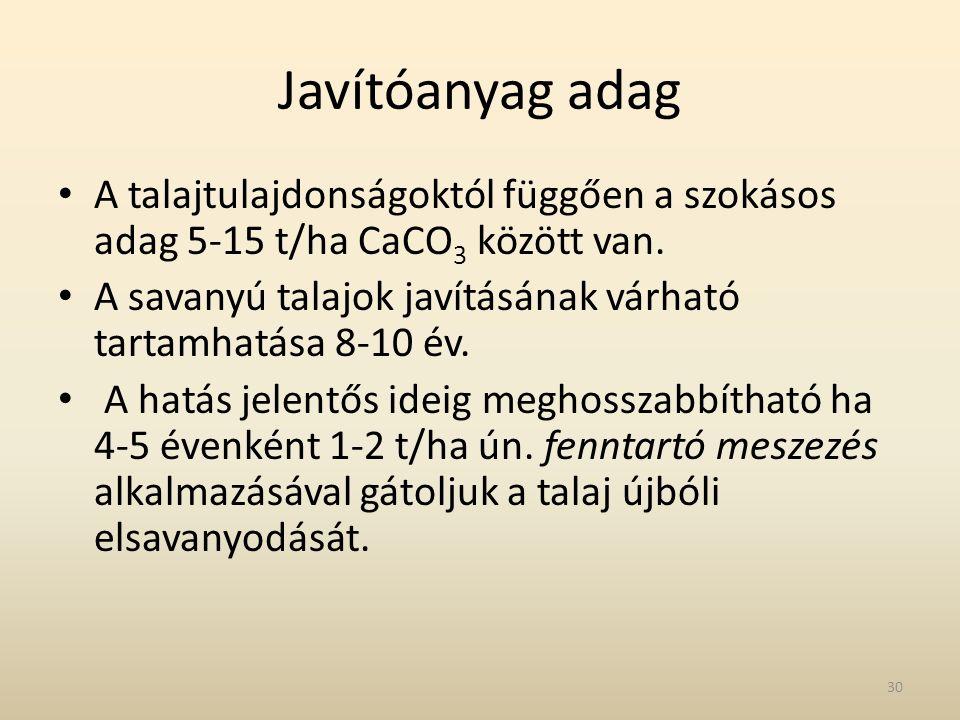 Javítóanyag adag A talajtulajdonságoktól függően a szokásos adag 5-15 t/ha CaCO3 között van.