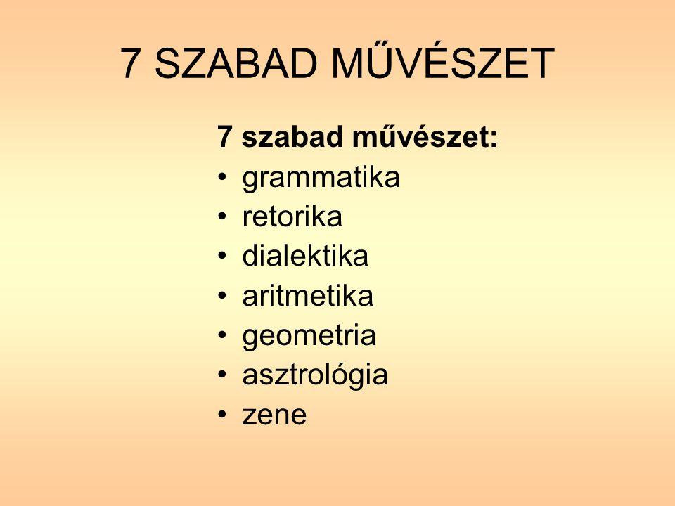 7 SZABAD MŰVÉSZET 7 szabad művészet: grammatika retorika dialektika