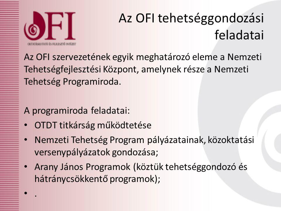 Az OFI tehetséggondozási feladatai