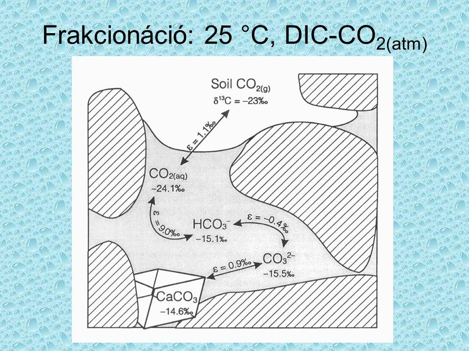 Frakcionáció: 25 °C, DIC-CO2(atm)