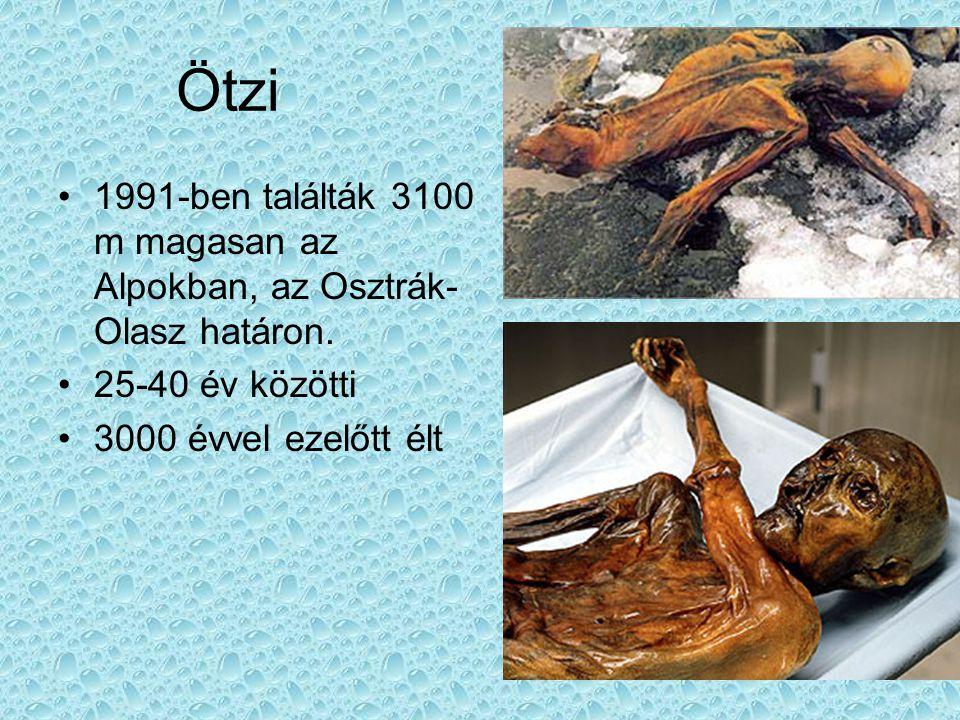 Ötzi 1991-ben találták 3100 m magasan az Alpokban, az Osztrák-Olasz határon.