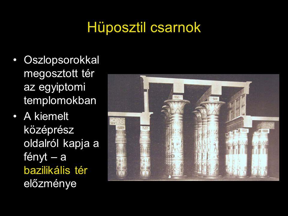 Hüposztil csarnok Oszlopsorokkal megosztott tér az egyiptomi templomokban.