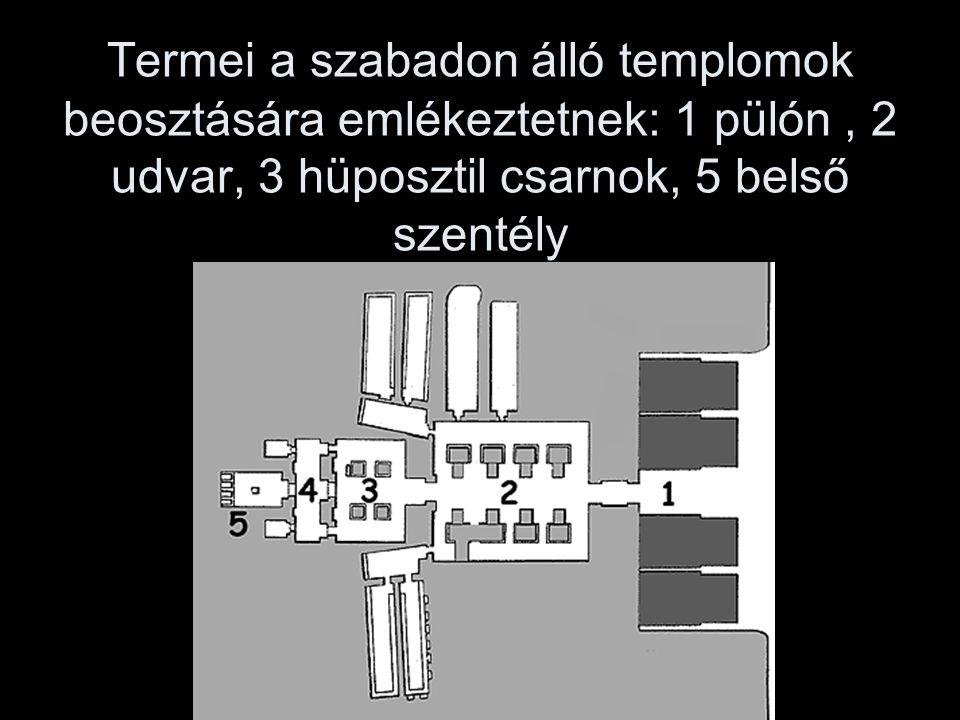 Termei a szabadon álló templomok beosztására emlékeztetnek: 1 pülón , 2 udvar, 3 hüposztil csarnok, 5 belső szentély