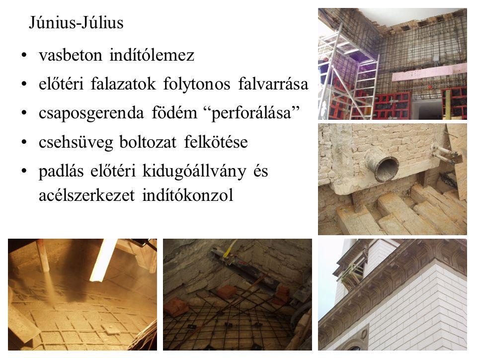 Június-Július vasbeton indítólemez. előtéri falazatok folytonos falvarrása. csaposgerenda födém perforálása
