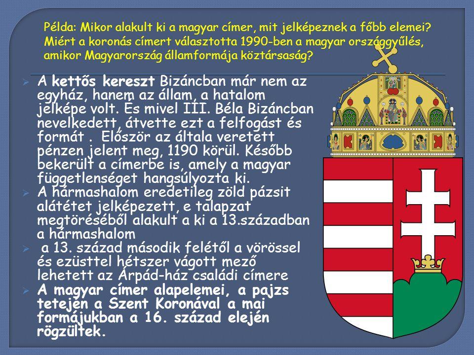 Példa: Mikor alakult ki a magyar címer, mit jelképeznek a főbb elemei