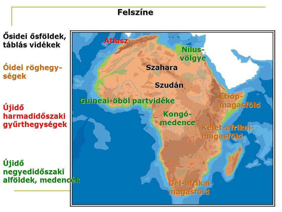 Felszíne Ősidei ősföldek, táblás vidékek Atlasz Nílus-völgye