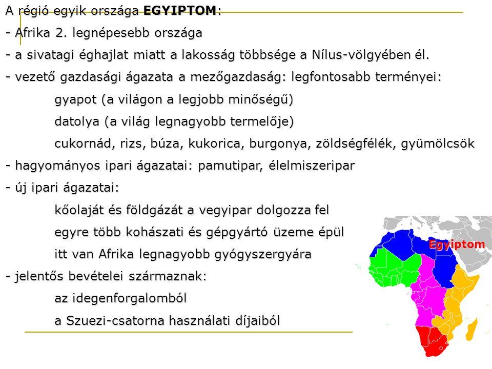 A régió egyik országa EGYIPTOM: Afrika 2. legnépesebb országa