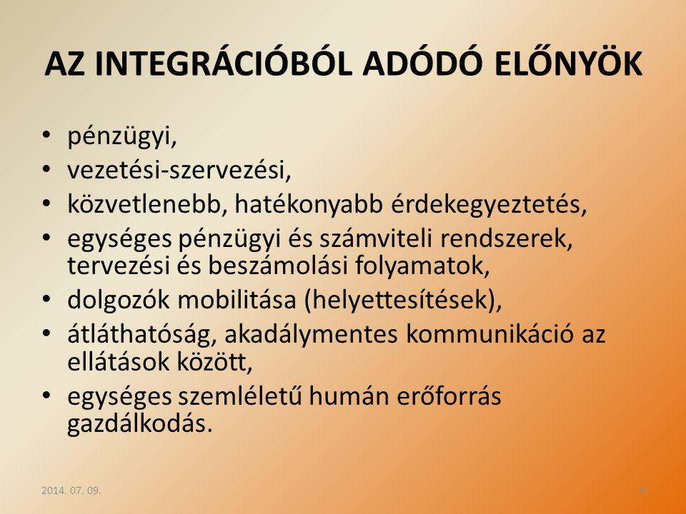 AZ INTEGRÁCIÓBÓL ADÓDÓ ELŐNYÖK