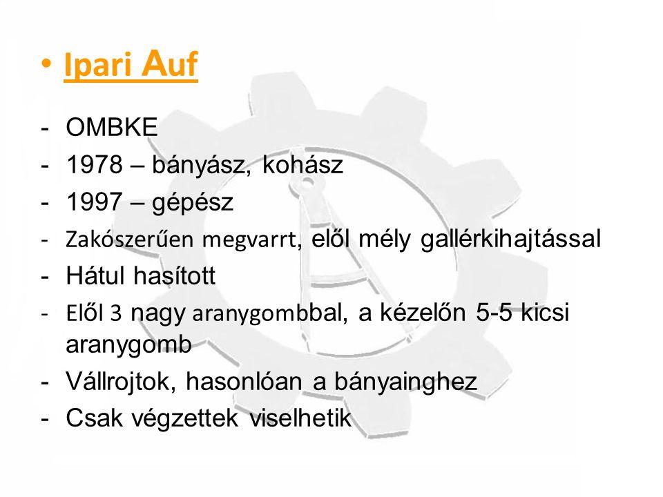 Ipari Auf OMBKE 1978 – bányász, kohász 1997 – gépész