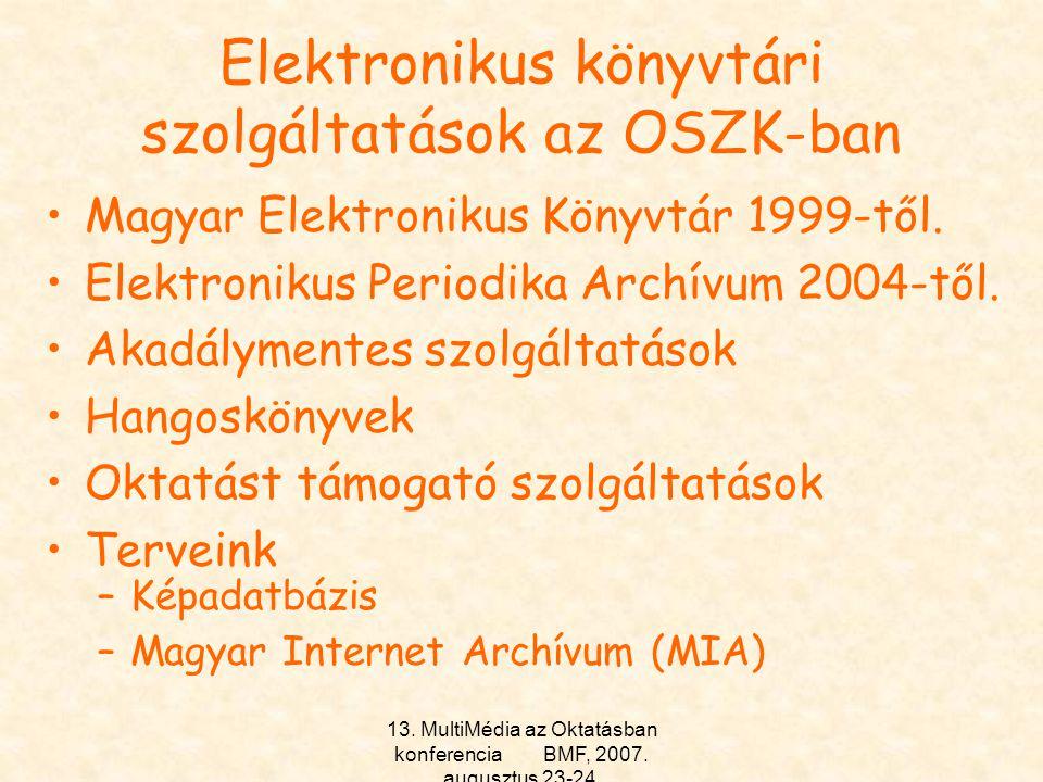 Elektronikus könyvtári szolgáltatások az OSZK-ban