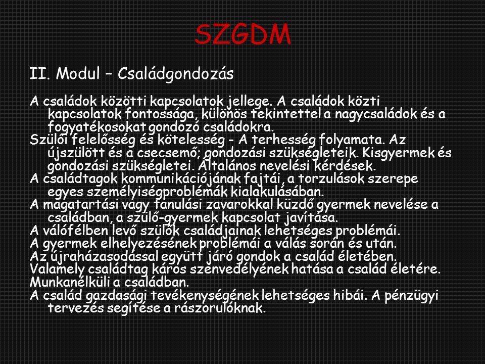 SZGDM II. Modul – Családgondozás
