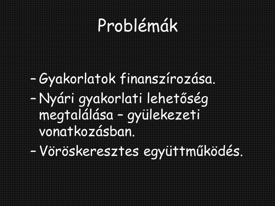 Problémák Gyakorlatok finanszírozása.