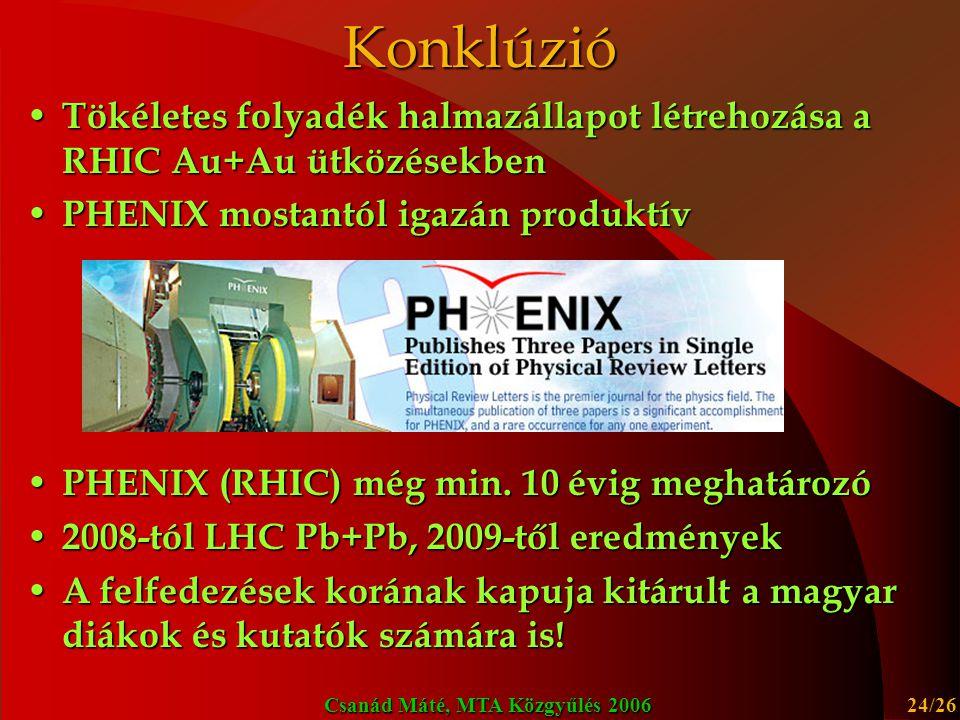 Konklúzió Tökéletes folyadék halmazállapot létrehozása a RHIC Au+Au ütközésekben. PHENIX mostantól igazán produktív.
