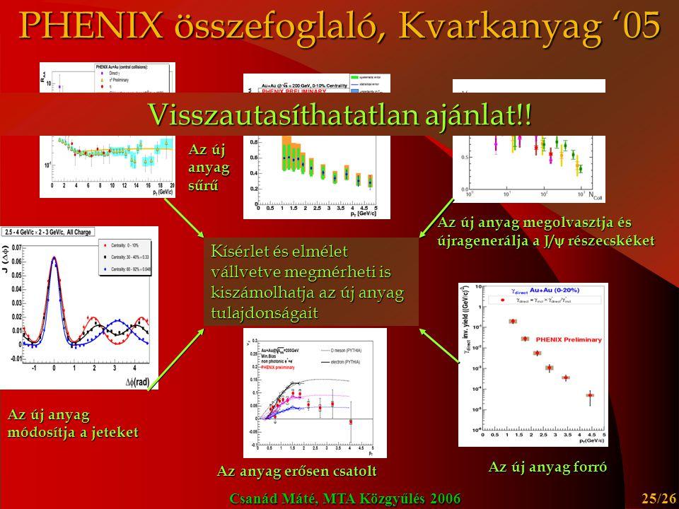 PHENIX összefoglaló, Kvarkanyag '05