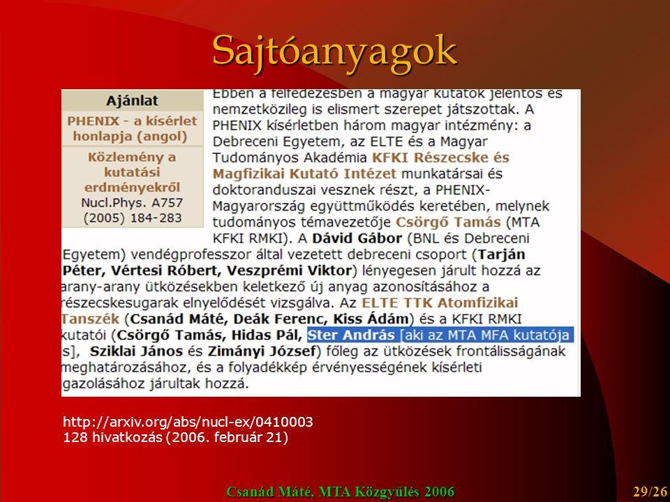 Sajtóanyagok http://arxiv.org/abs/nucl-ex/0410003