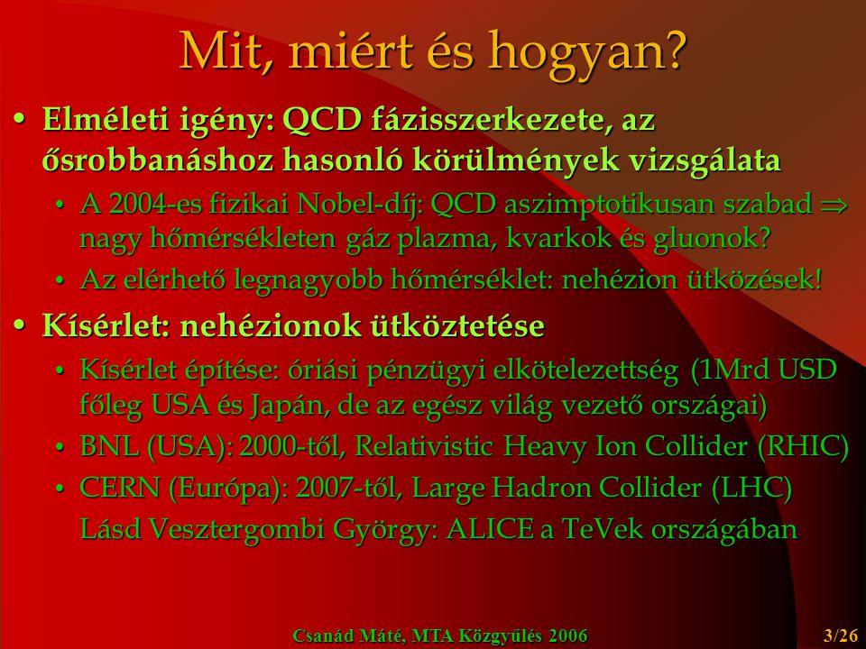 Mit, miért és hogyan Elméleti igény: QCD fázisszerkezete, az ősrobbanáshoz hasonló körülmények vizsgálata.